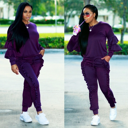 Fashion Women Two-Piece Set Solid Ruffled Top Drawstring Long Pants Long Sleeve Hoodies Casual SportswearApparel &amp; Jewelry<br>Fashion Women Two-Piece Set Solid Ruffled Top Drawstring Long Pants Long Sleeve Hoodies Casual Sportswear<br>