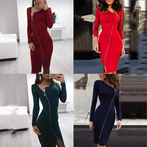 New Sexy Women Bodycon Dress Irregular Neck Long Sleeve Front Zipper Slit Party Bandage Pencil Dress ClubwearApparel &amp; Jewelry<br>New Sexy Women Bodycon Dress Irregular Neck Long Sleeve Front Zipper Slit Party Bandage Pencil Dress Clubwear<br>
