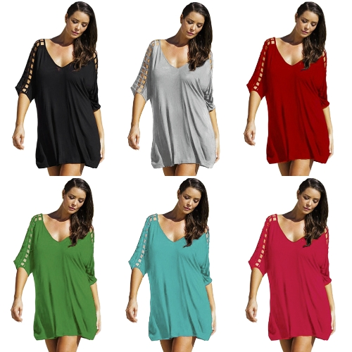 Sexy Women Oversized Deep V Dress Hollow Out Half Sleeves Loose Cover Ups Shift Casual Mini Dress BeachwearApparel &amp; Jewelry<br>Sexy Women Oversized Deep V Dress Hollow Out Half Sleeves Loose Cover Ups Shift Casual Mini Dress Beachwear<br>