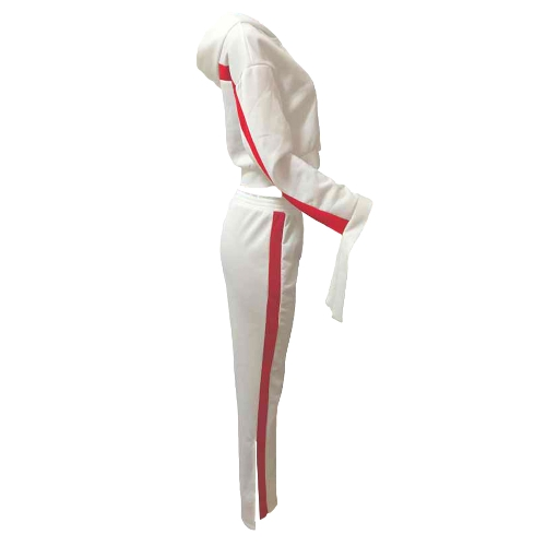 Fashion Women Two-Piece Set Striped Hooded Drawstring Long Pants Long Sleeve Hoodies Casual Sportswear WhiteApparel &amp; Jewelry<br>Fashion Women Two-Piece Set Striped Hooded Drawstring Long Pants Long Sleeve Hoodies Casual Sportswear White<br>