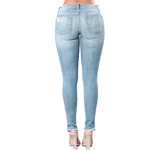 New Women Ripped Jeans Bodycon Denim Destroyed Frayed Hole Casual Pants Trousers BlueApparel &amp; Jewelry<br>New Women Ripped Jeans Bodycon Denim Destroyed Frayed Hole Casual Pants Trousers Blue<br>