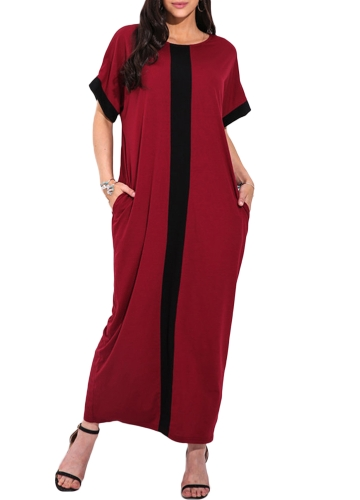 Fashion Women Plus Size Contrast Panel T-Shirt Dress O Neck Short Sleeve Casual Loose Maxi DressApparel &amp; Jewelry<br>Fashion Women Plus Size Contrast Panel T-Shirt Dress O Neck Short Sleeve Casual Loose Maxi Dress<br>