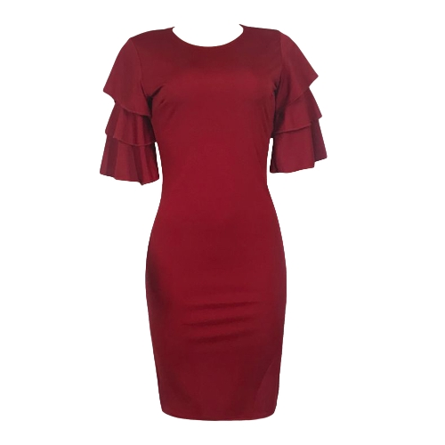 Sexy Women Pencil Dress Ruffle O-Neck Layered Sleeve Nightclub Party Bodycon Slim Midi DressApparel &amp; Jewelry<br>Sexy Women Pencil Dress Ruffle O-Neck Layered Sleeve Nightclub Party Bodycon Slim Midi Dress<br>