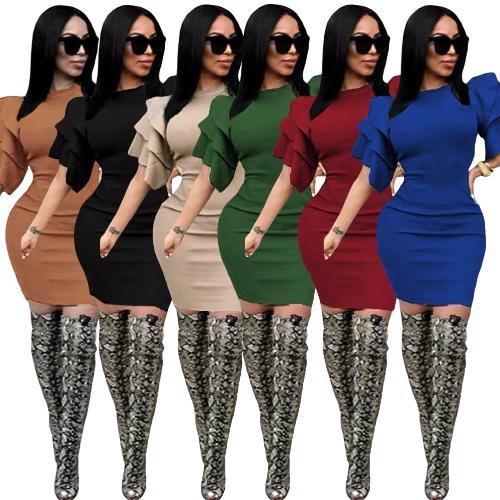 Sexy Women Pencil Dress Ruffle O-Neck Layered Sleeve Nightclub Party Bodycon Slim Midi DressApparel &amp; Jewelry<br>Sexy Women Pencil Dress Ruffle O-Neck Layered Sleeve Nightclub Party Bodycon Slim Midi Dress<br>