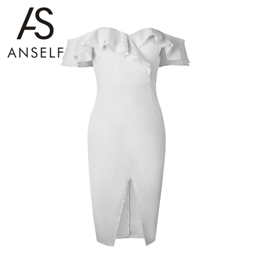 Women Bodycon Midi Dress Ruffles Short Sleeves Heart Neck Bandage Padded Cut Out Front Wedding Party DressApparel &amp; Jewelry<br>Women Bodycon Midi Dress Ruffles Short Sleeves Heart Neck Bandage Padded Cut Out Front Wedding Party Dress<br>