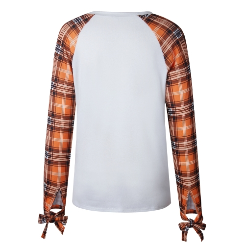 Korean Fashion Women T-shirt Plaid Sleeves Round Neck Bowknot Casual Pullover Tops BeigeApparel &amp; Jewelry<br>Korean Fashion Women T-shirt Plaid Sleeves Round Neck Bowknot Casual Pullover Tops Beige<br>