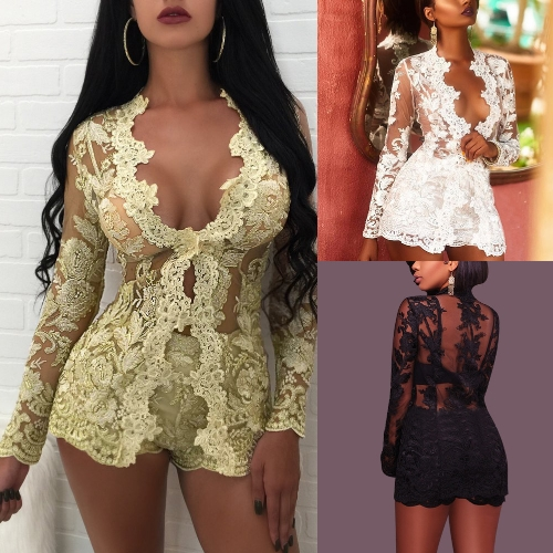 Sexy Women Lace Two Piece Set Mesh Top Long Sleeves Floral Embroidery Solid Shorts Outfit White/Black/GoldApparel &amp; Jewelry<br>Sexy Women Lace Two Piece Set Mesh Top Long Sleeves Floral Embroidery Solid Shorts Outfit White/Black/Gold<br>