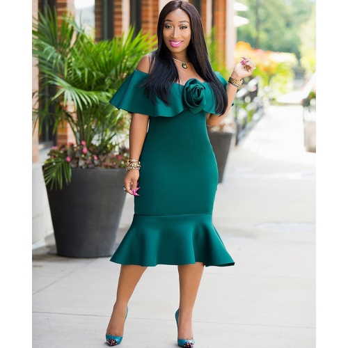 Women Off Shoulder Dress 3D Rose Peplum Hem Slash Neck Nightclub Party Bodycon Slim Midi Dress Green/RedApparel &amp; Jewelry<br>Women Off Shoulder Dress 3D Rose Peplum Hem Slash Neck Nightclub Party Bodycon Slim Midi Dress Green/Red<br>