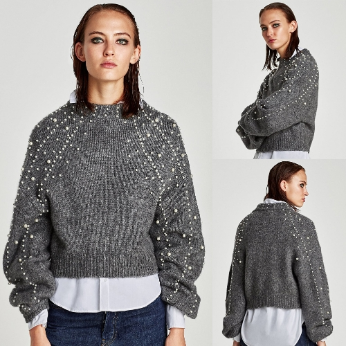 Women Cropped Loose Sweater Faux Pearls Beadings Round Neck Long Sleeve Ribbed Casual PulloverApparel &amp; Jewelry<br>Women Cropped Loose Sweater Faux Pearls Beadings Round Neck Long Sleeve Ribbed Casual Pullover<br>