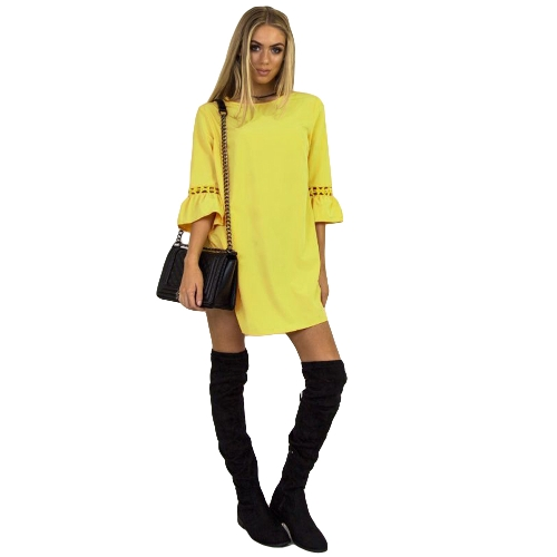 Fashion Women Mini Dress O Neck 3/4 Flare Sleeve Hollow Out Solid Color Casual Party DressApparel &amp; Jewelry<br>Fashion Women Mini Dress O Neck 3/4 Flare Sleeve Hollow Out Solid Color Casual Party Dress<br>