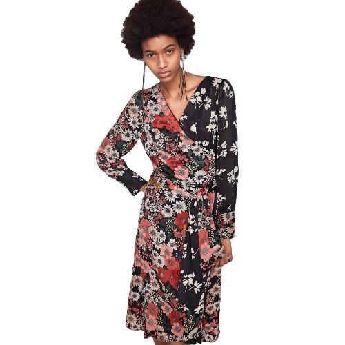 Women Chiffon Floral Dress Kimono Cardigan Sash V-Neck Long Sleeve Boho Cover Up Belted Midi DressApparel &amp; Jewelry<br>Women Chiffon Floral Dress Kimono Cardigan Sash V-Neck Long Sleeve Boho Cover Up Belted Midi Dress<br>