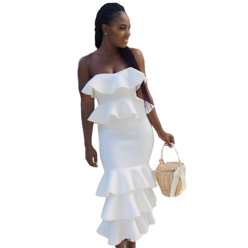 Sexy Women Elegant Ruffles Strapless Dress Bardot Neck Off Shoulder Frill Hem Party Celebrity Bodycon DressApparel &amp; Jewelry<br>Sexy Women Elegant Ruffles Strapless Dress Bardot Neck Off Shoulder Frill Hem Party Celebrity Bodycon Dress<br>
