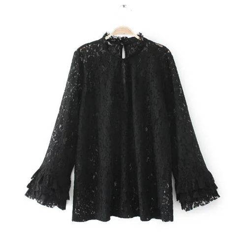 Women Floral Lace Blouse Shirt Ruffles Long Sleeves Hollow Out Sheer Loose Casual Tops T-shirtApparel &amp; Jewelry<br>Women Floral Lace Blouse Shirt Ruffles Long Sleeves Hollow Out Sheer Loose Casual Tops T-shirt<br>