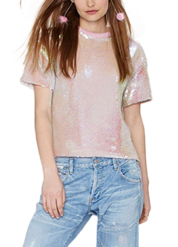 Women Sequined T-shirt O Neck Short Sleeves Dropped Shoulder Costume Tees Casual TopsApparel &amp; Jewelry<br>Women Sequined T-shirt O Neck Short Sleeves Dropped Shoulder Costume Tees Casual Tops<br>