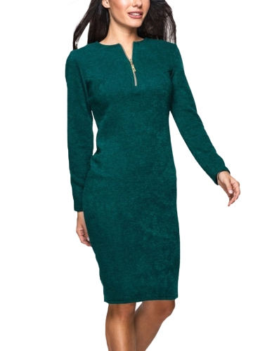 New Women Solid Dress Long Sleeve Front Zip Up Elegant Party Pencil Mini Bodycon Dress Green/Grey/RedApparel &amp; Jewelry<br>New Women Solid Dress Long Sleeve Front Zip Up Elegant Party Pencil Mini Bodycon Dress Green/Grey/Red<br>
