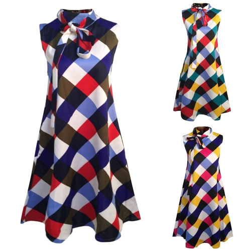 New Women Plus Size Loose Dress Plaid Print Sleeveless Bow Casual Party Mini Tank DressesApparel &amp; Jewelry<br>New Women Plus Size Loose Dress Plaid Print Sleeveless Bow Casual Party Mini Tank Dresses<br>