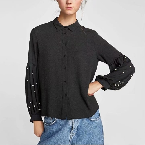 New Fashion Women Loose Shirt Beads Lantern Sleeve Turn-Down Collar Casual Solid Blouse Tops BlackApparel &amp; Jewelry<br>New Fashion Women Loose Shirt Beads Lantern Sleeve Turn-Down Collar Casual Solid Blouse Tops Black<br>