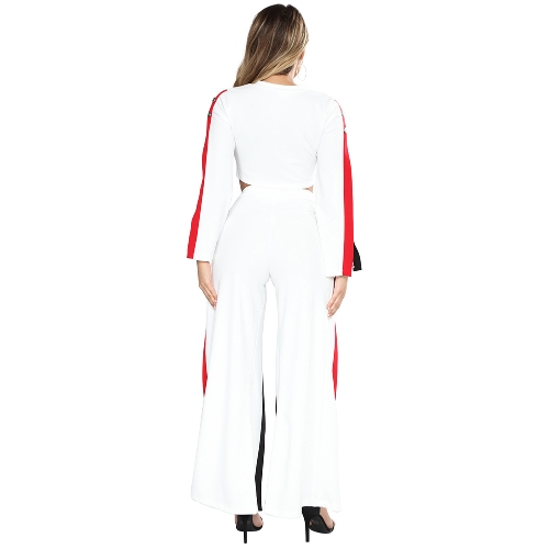 New Fashion 2 Piece Clothing Set Women Crop Top And Side Split Pants Suit Ladies Sexy Tracksuit Black/WhiteApparel &amp; Jewelry<br>New Fashion 2 Piece Clothing Set Women Crop Top And Side Split Pants Suit Ladies Sexy Tracksuit Black/White<br>