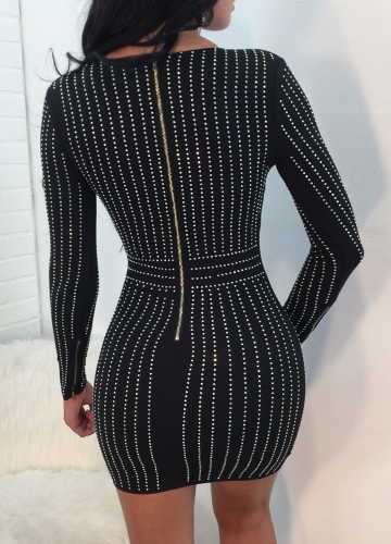 Sexy Women Bodycon Dress Rhinestone Scoop Neck Long Sleeves Nightwear Evening Party Mini DressesApparel &amp; Jewelry<br>Sexy Women Bodycon Dress Rhinestone Scoop Neck Long Sleeves Nightwear Evening Party Mini Dresses<br>