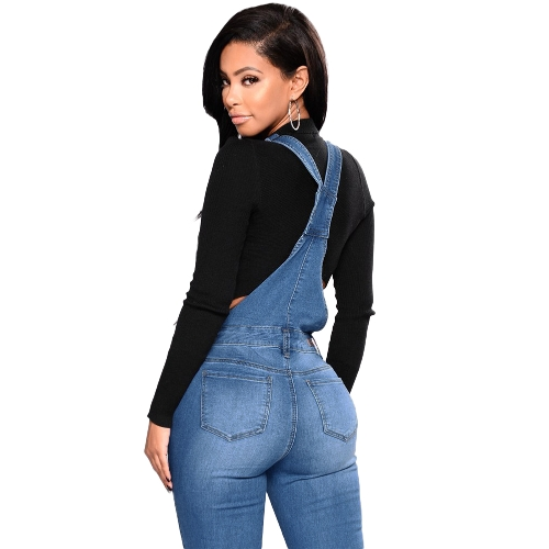 Fashion Women Denim Overalls Ripped Stretch Dungarees High Waist Long Jeans Pencil Pants Rompers Jumpsuit BlueApparel &amp; Jewelry<br>Fashion Women Denim Overalls Ripped Stretch Dungarees High Waist Long Jeans Pencil Pants Rompers Jumpsuit Blue<br>