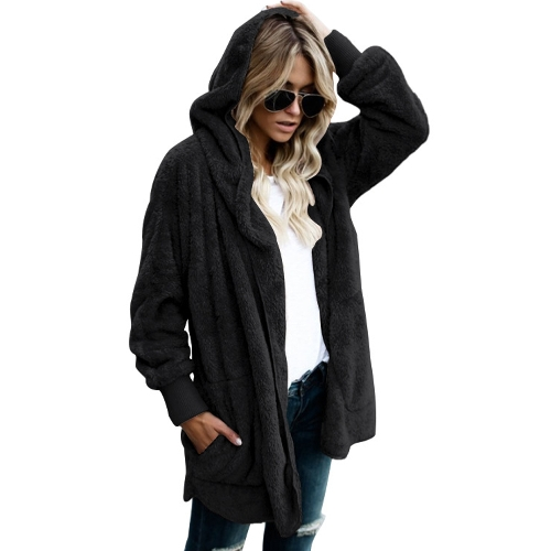 Women Hooded Long Coat Jacket Hoodies Cardigan Faux Fur Fleece Open Front Pockets Outwear Casual OvercoatsApparel &amp; Jewelry<br>Women Hooded Long Coat Jacket Hoodies Cardigan Faux Fur Fleece Open Front Pockets Outwear Casual Overcoats<br>