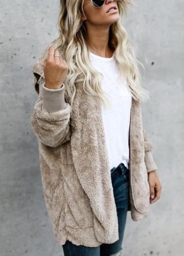 Women Hooded Long Coat Jacket Hoodies Cardigan Faux Fur Fleece Open Front Pockets Outwear Casual OvercoatsApparel &amp; Jewelry<br>Women Hooded Long Coat Jacket Hoodies Cardigan Faux Fur Fleece Open Front Pockets Outwear Casual Overcoats<br>