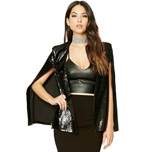 Women Sequins Blazer Cape Cloak Open Front Split Poncho Cardigan Jacket Coat Casual Tops OutwearApparel &amp; Jewelry<br>Women Sequins Blazer Cape Cloak Open Front Split Poncho Cardigan Jacket Coat Casual Tops Outwear<br>