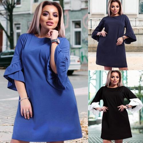 New Women Plus Size Loose Dress Solid Flare Half Layered Sleeves Elegant Mini DressesApparel &amp; Jewelry<br>New Women Plus Size Loose Dress Solid Flare Half Layered Sleeves Elegant Mini Dresses<br>