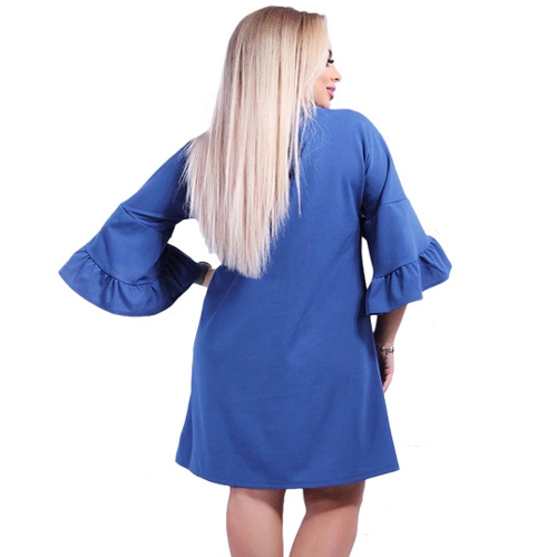 New Women Plus Size Loose Dress Solid Flare Half Layered Sleeves Elegant Mini DressesApparel &amp; Jewelry<br>New Women Plus Size Loose Dress Solid Flare Half Layered Sleeves Elegant Mini Dresses<br>