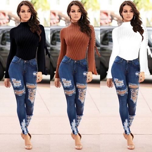 Women Sexy Bodysuit High Neck Crisscross Bandage Flare Sleeve Solid Tights Bodycon Jumpsuit Rompers Black/White/KhakiApparel &amp; Jewelry<br>Women Sexy Bodysuit High Neck Crisscross Bandage Flare Sleeve Solid Tights Bodycon Jumpsuit Rompers Black/White/Khaki<br>