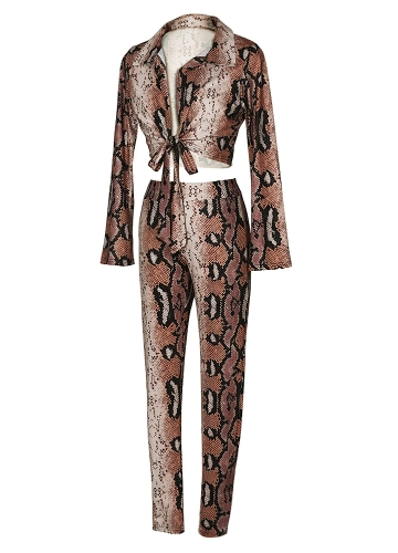 Sexy Women Two-piece Set Snake Print Crop Top Deep V Neck Bandage Long Sleeve Long Pants Slim Bodycon Suits KhakiApparel &amp; Jewelry<br>Sexy Women Two-piece Set Snake Print Crop Top Deep V Neck Bandage Long Sleeve Long Pants Slim Bodycon Suits Khaki<br>