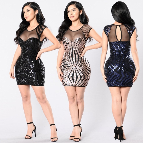 New Sexy Women Sequin Bodycon Mini Dress Sheer Mesh Cutout O Neck Sleeveless Clubwear Party DressApparel &amp; Jewelry<br>New Sexy Women Sequin Bodycon Mini Dress Sheer Mesh Cutout O Neck Sleeveless Clubwear Party Dress<br>