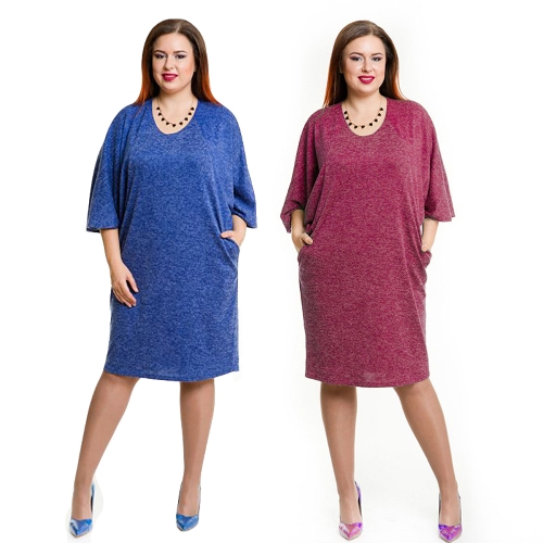 Spring Summer Women Plus Size Dress Pocket O Neck Casual Loose Dress Big Size Elegance Dress Blue/BurgundyApparel &amp; Jewelry<br>Spring Summer Women Plus Size Dress Pocket O Neck Casual Loose Dress Big Size Elegance Dress Blue/Burgundy<br>