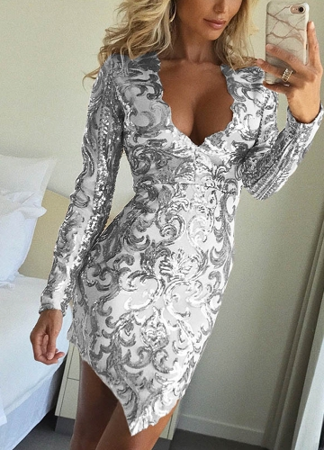 Women Sequined Dress Deep V-Neck Asymmetric Hem Long Sleeve Bodycon Casual Party Dress Silver/PinkApparel &amp; Jewelry<br>Women Sequined Dress Deep V-Neck Asymmetric Hem Long Sleeve Bodycon Casual Party Dress Silver/Pink<br>