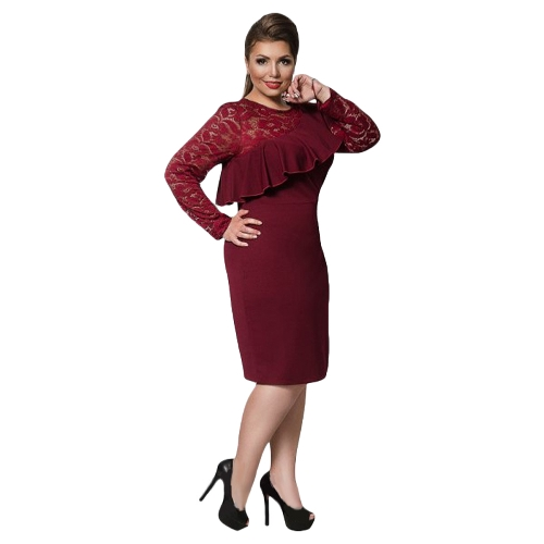 Women Plus Size Dress Lace O-Neck Pencil Party Dress Ladies Ruffle Bodycon Slim Midi Club VestidosApparel &amp; Jewelry<br>Women Plus Size Dress Lace O-Neck Pencil Party Dress Ladies Ruffle Bodycon Slim Midi Club Vestidos<br>