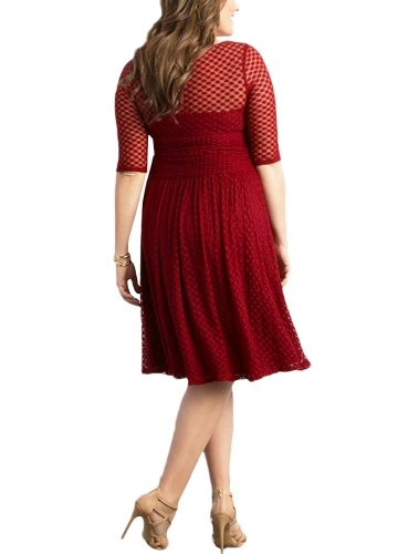 Women Plus Size Dress Dot Semi-sheer Mesh Splice Ruffle Elegant A-Line Party Swing Dress Dark Blue/RedApparel &amp; Jewelry<br>Women Plus Size Dress Dot Semi-sheer Mesh Splice Ruffle Elegant A-Line Party Swing Dress Dark Blue/Red<br>