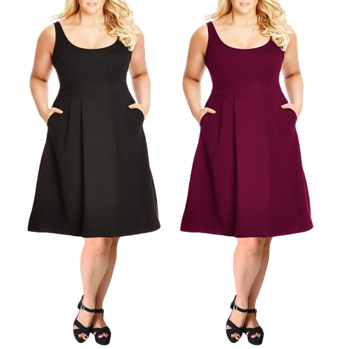 Women Plus Size Tank Dress Solid Swing Dress A-Line Casual Midi Dress Black/BurgundyApparel &amp; Jewelry<br>Women Plus Size Tank Dress Solid Swing Dress A-Line Casual Midi Dress Black/Burgundy<br>