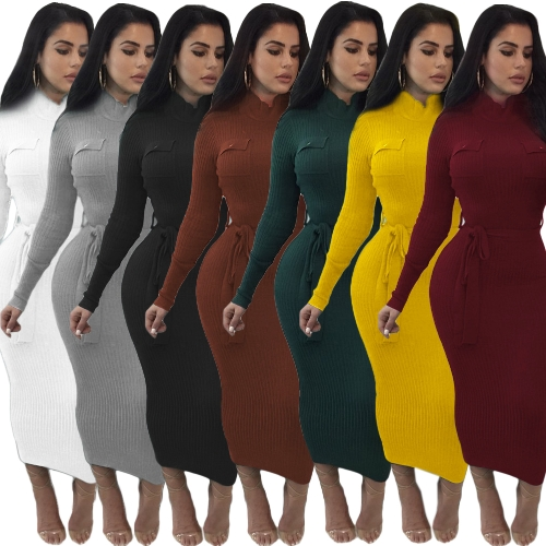 Women Autumn Winter Sweater Knitted Dress Belted Waist Slim Elastic Turtleneck Long Sleeve Bodycon DressApparel &amp; Jewelry<br>Women Autumn Winter Sweater Knitted Dress Belted Waist Slim Elastic Turtleneck Long Sleeve Bodycon Dress<br>