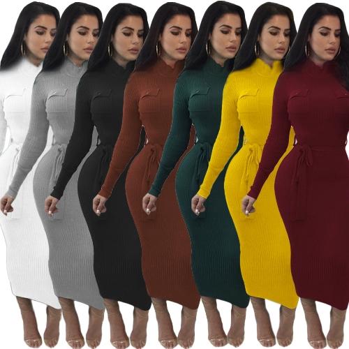 Women Autumn Winter Sweater Knitted Dress Belted Waist Slim Elastic Turtleneck Long Sleeve Bodycon Dress