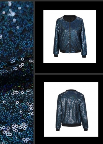 Women Sequin Coat Bomber Jacket Long Sleeve Zipper Streetwear Casual Loose Glitter Outerwear BlueApparel &amp; Jewelry<br>Women Sequin Coat Bomber Jacket Long Sleeve Zipper Streetwear Casual Loose Glitter Outerwear Blue<br>