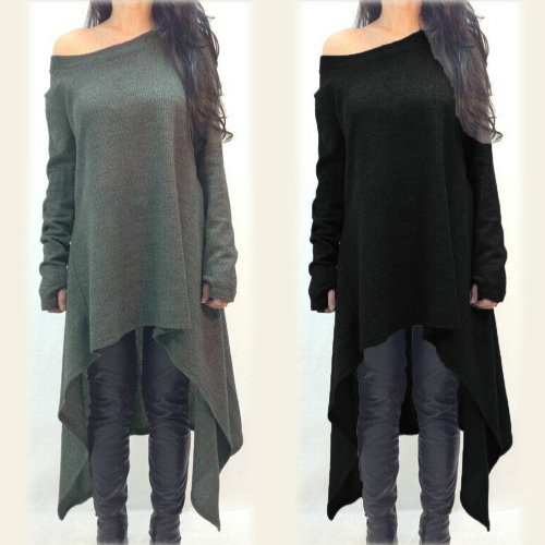 Women Dress Solid Color One Shoulder High Low Asymmetric Hem Long Sleeve Loose One-PieceApparel &amp; Jewelry<br>Women Dress Solid Color One Shoulder High Low Asymmetric Hem Long Sleeve Loose One-Piece<br>
