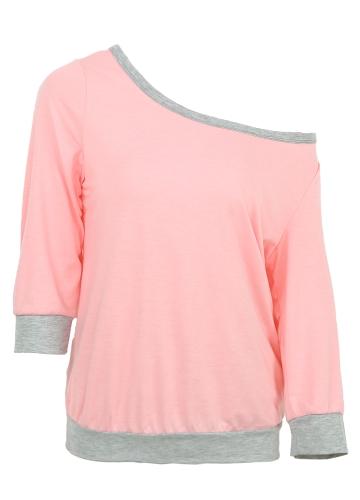 Women T-shirt One Shoulder Off Shoulder Contrast Color 3/4 Sleeve Loose Plus Size Casual TopsApparel &amp; Jewelry<br>Women T-shirt One Shoulder Off Shoulder Contrast Color 3/4 Sleeve Loose Plus Size Casual Tops<br>