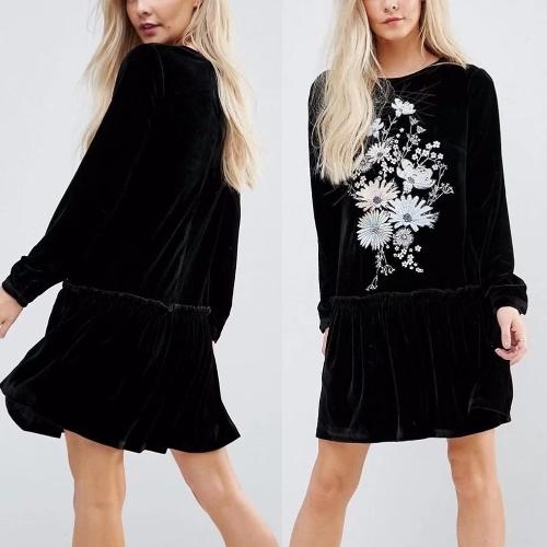 Women Velvet Mini Dress Floral Embroidery Long Sleeve Ruffled Pleated Loose Short Dress BlackApparel &amp; Jewelry<br>Women Velvet Mini Dress Floral Embroidery Long Sleeve Ruffled Pleated Loose Short Dress Black<br>