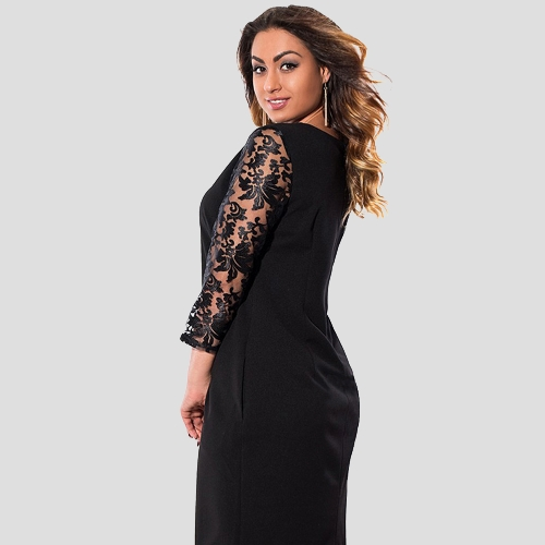 Women Plus Size Dress Floral Lace Three Quarter Sleeve Pockets Mini Big Size Elegant Office PartywearApparel &amp; Jewelry<br>Women Plus Size Dress Floral Lace Three Quarter Sleeve Pockets Mini Big Size Elegant Office Partywear<br>