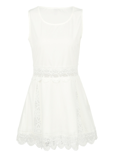 New Sexy Women Lace Mini Dress Sleeveless Hollow Out Solid Color Slim Elegant Dress Beige/BlackApparel &amp; Jewelry<br>New Sexy Women Lace Mini Dress Sleeveless Hollow Out Solid Color Slim Elegant Dress Beige/Black<br>