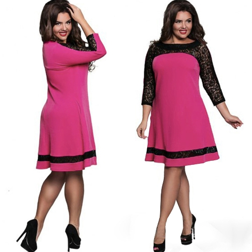 Women Plus Size Dress Semi-sheer Lace Mesh Splice Contrast Color Elegant A-Line Party Swing Dress Dark Blue/Pink/RoseApparel &amp; Jewelry<br>Women Plus Size Dress Semi-sheer Lace Mesh Splice Contrast Color Elegant A-Line Party Swing Dress Dark Blue/Pink/Rose<br>
