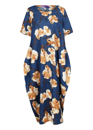 Summer Women Plus Size Casual Floral Print Loose Dress Short Sleeve Round Neck Pockets Oversize Long Dress KaftanApparel &amp; Jewelry<br>Summer Women Plus Size Casual Floral Print Loose Dress Short Sleeve Round Neck Pockets Oversize Long Dress Kaftan<br>