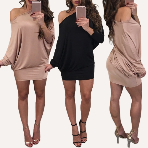 Women Off the Shoulder Dress One Shoulder Batwing Sleeves Slash Neck Mini Evening Party DressApparel &amp; Jewelry<br>Women Off the Shoulder Dress One Shoulder Batwing Sleeves Slash Neck Mini Evening Party Dress<br>