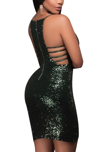 New Sexy Women Deep V Neck Sequin Bodycon Dress Hollow Out Back Zip Party Club Strappy Mini DressApparel &amp; Jewelry<br>New Sexy Women Deep V Neck Sequin Bodycon Dress Hollow Out Back Zip Party Club Strappy Mini Dress<br>