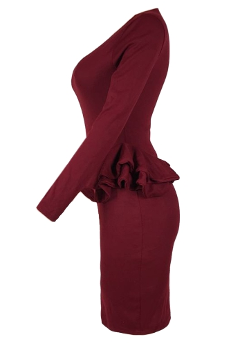 Women Pencil Party Dress Ruffles Long Sleeve Bodycon Slim Midi Club Vestidos Solid Dress BurgundyApparel &amp; Jewelry<br>Women Pencil Party Dress Ruffles Long Sleeve Bodycon Slim Midi Club Vestidos Solid Dress Burgundy<br>